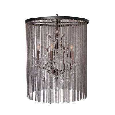 Cascata I 5-Light Waterfall Chandelier with Crystals Finish: Antique Rustic