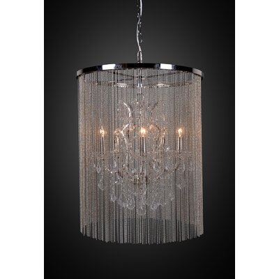 Cascata I 5-Light Waterfall Chandelier with Crystals Finish: Nickel Plated