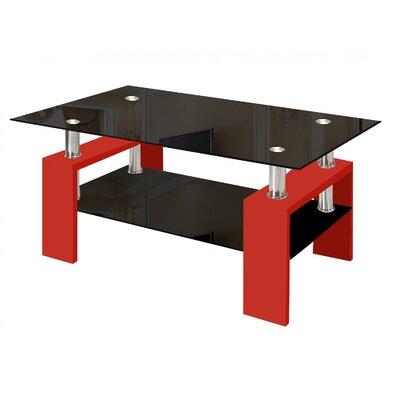Coffee Table Base Finish: Black, Top Finish: Black