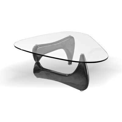 Coffee Table Base Color: Black, Top Color: Clear