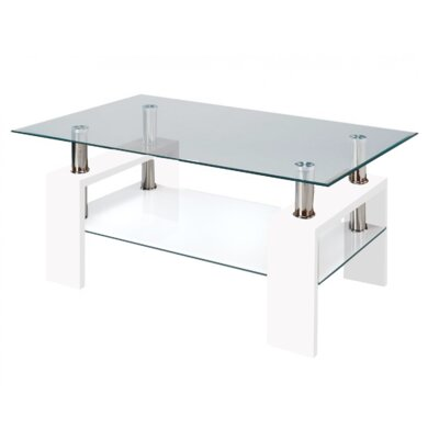 Coffee Table Base Color: White, Top Color: Clear