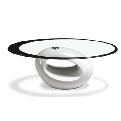 Coffee Table Base Color: White, Top Color: Black