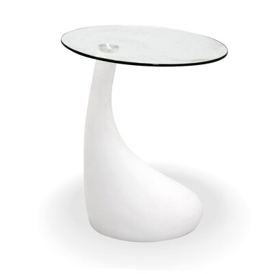 Tear Drop End Table Finish: White