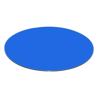 Round Flat Tempered Back Painted Glass Table Topp Finish: Blue