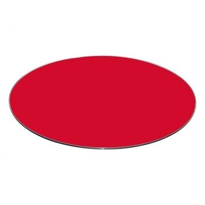 Round Flat Tempered Back Painted Glass Table Topp Finish: Red