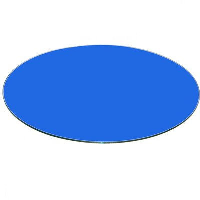 Round Flat Tempered Back Painted Glass Table Top Finish: Blue