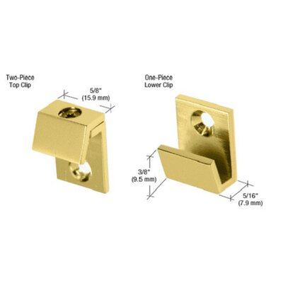 Beveled Mirror Clip Set Finish: Brass