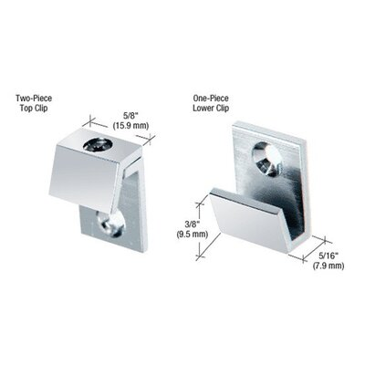 Beveled Mirror Clip Set Finish: Chrome