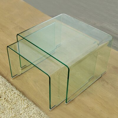 2 Piece Clear Bent Glass Nesting Tables