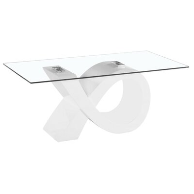 Alpha Glass Coffee Table Base Color: White