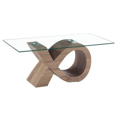 Alpha Glass Coffee Table Base Color: Oak