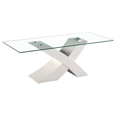 Venice X Modern Glass Coffee Table Base Finish: White