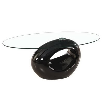 Oval Glass Coffee Table Base Color: Black