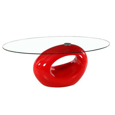 Oval Glass Coffee Table Base Color: Red