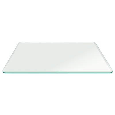Rectangle Beveled Tempered Radius Corner Glass Table Top