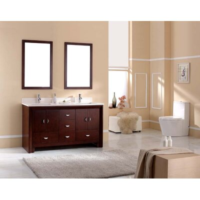 Melbourne 61 Double Bathroom Vanity Set Top Finish: Ajax White, Faucet Mount: 8 Centers