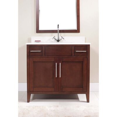 Lisbon 37 Single bathroom Vanity Set Top Finish: Nova White, Faucet Mount: Single