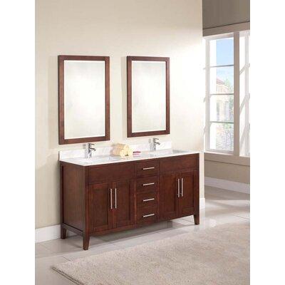 Lisbon 61 Double Bathroom Vanity Set Top Finish: Ajax White, Faucet Mount: Single