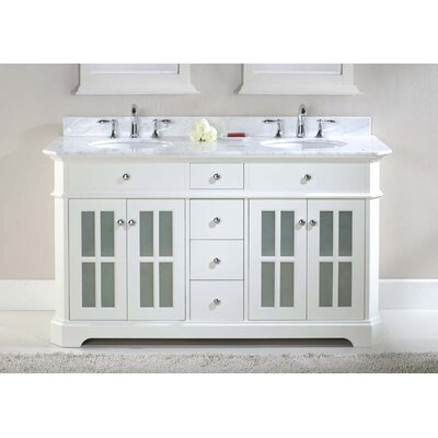 Monterey 60 Double Bathroom Vanity Set Top Finish: Ajax White