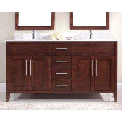 Lisbon 61 Double Bathroom Vanity Set Faucet Mount: Single, Top Finish: Nova White