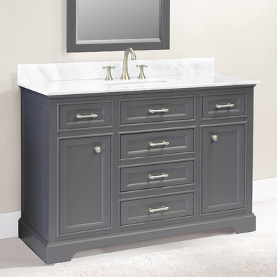 Coventry 49 Single Vanity Set Top Finish: Ajax White, Faucet Mount: 8 Centers