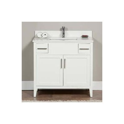 Lisbon 37 Single Bathroom Vanity Set Top Finish: Ajax White, Faucet Mount: 8 Centers