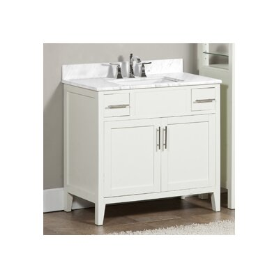 Lisbon 37 Single Bathroom Vanity Set Top Finish: Ajax White, Faucet Mount: Single