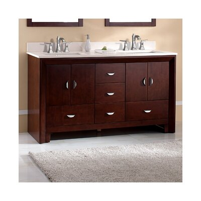 Melbourne 61 Double Bathroom Vanity Set Top Finish: Ajax White, Faucet Mount: Single