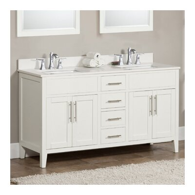 Lisbon 61 Double Bathroom Vanity Set Top Finish: Ash Grey, Faucet Mount: 8 Centers