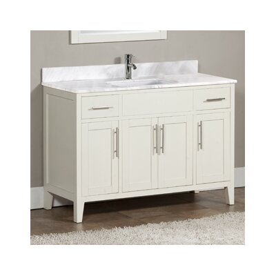 Lisbon 49 Single Bathroom Vanity Set Top Finish: Ajax White, Faucet Mount: Single