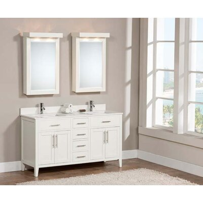 Lisbon 61 Double Bathroom Vanity Set Faucet Mount: Single, Top Finish: Nova White