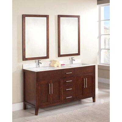 Lisbon 61 Double Bathroom Vanity Set Top Finish: Ajax White, Faucet Mount: 8 Centers
