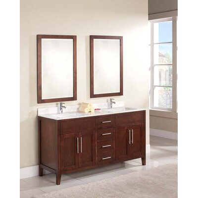Lisbon 61 Double Bathroom Vanity Set Top Finish: Ajax White, Faucet Mount: 8 Centers