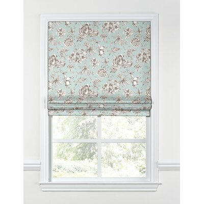Floral Toile Flat Roman Shades Length: 64, Width: 29