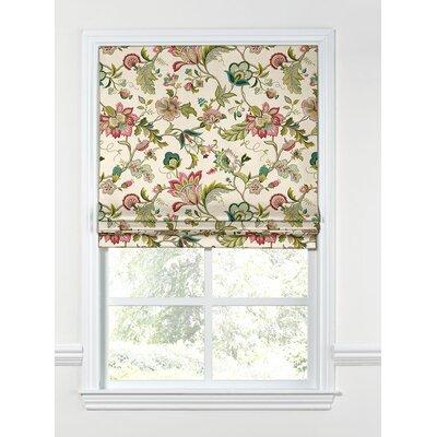 Floral Fabric Flat Roman Shade Length: 48, Width: 29