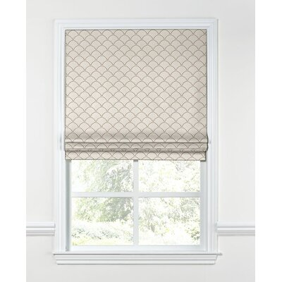 Embroidered Scallop Flat Roman Shades Width: 23, Length: 64