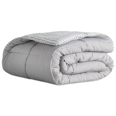 Striped Reversible Chambray All Season Down Alternative Comforter Set Size: King, Color: Coastal Gray