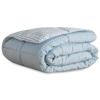 Striped Reversible Chambray All Season Down Alternative Comforter Set Size: Oversized King, Color: Calm Sea