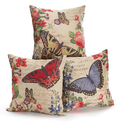 3 Piece Castle Garden Butterfly Throw Pillow Set