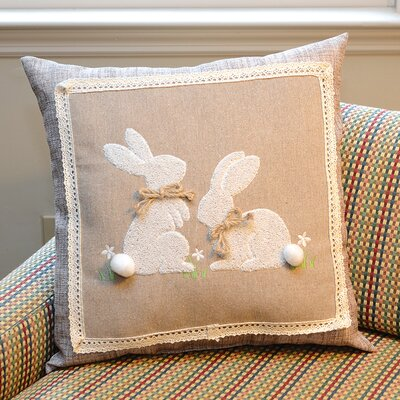 2 Piece Natural Bunny Throw Pillow Set