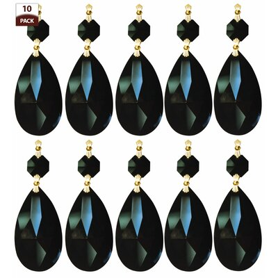 10 Pack Chandelier Replacement Crystal Prism Tear Drop Almond Black Finish: Polished Brass