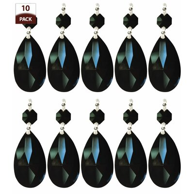 10 Pack Chandelier Replacement Crystal Prism Tear Drop Almond Black Finish: Chrome