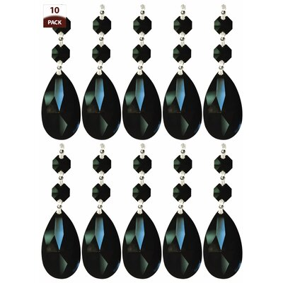 10 Pack Chandelier Replacement Crystal Prism Tear Drop Almond Two Bead Black Finish: Chrome