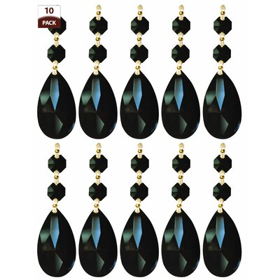 10 Pack Chandelier Replacement Crystal Prism Tear Drop Almond Two Bead Black Finish: Polished Brass