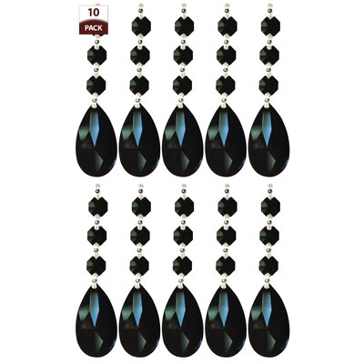 10 Pack Chandelier Replacement Crystal Prism Tear Drop Almond Three Bead Black Finish: Chrome