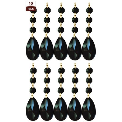 10 Pack Chandelier Replacement Crystal Prism Tear Drop Almond Three Bead Black Finish: Polished Brass