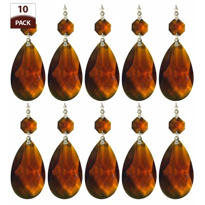 10 Pack Chandelier Replacement Crystal Prism Tear Drop Almond Amber Finish: Chrome