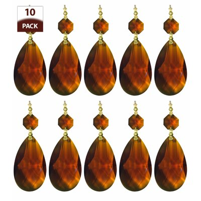 10 Pack Chandelier Replacement Crystal Prism Tear Drop Almond Amber Finish: Polished Brass