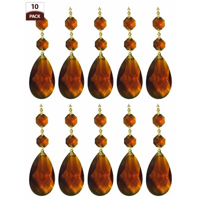 10 Pack Chandelier Replacement Crystal Prism Tear Drop Almond Two Bead Amber Finish: Polished Brass