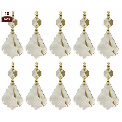 10 Pack Chandelier Replacement Crystal Prisms French Maple Leaf Clear Finish: Polished Brass